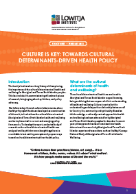 Policy Brief - Culture Is Key: Towards Cultural Determinants-Driven Health Policy
