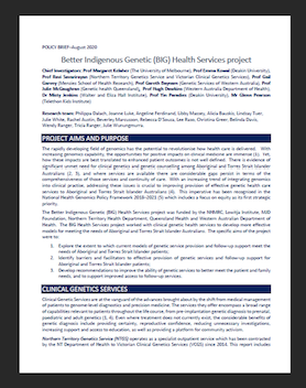 Better Indigenous Genetic (BIG) Health Services project - Policy Brief