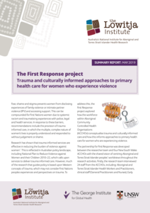 The First Response project: Trauma and culturally informed approaches to primary health care for women who experience violence